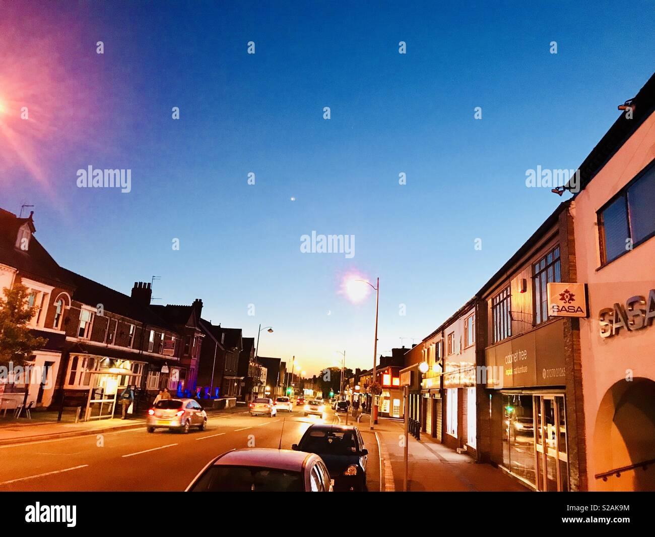 Nantwich road at night time, Crewe, Cheshire, U.K. - Stock Image