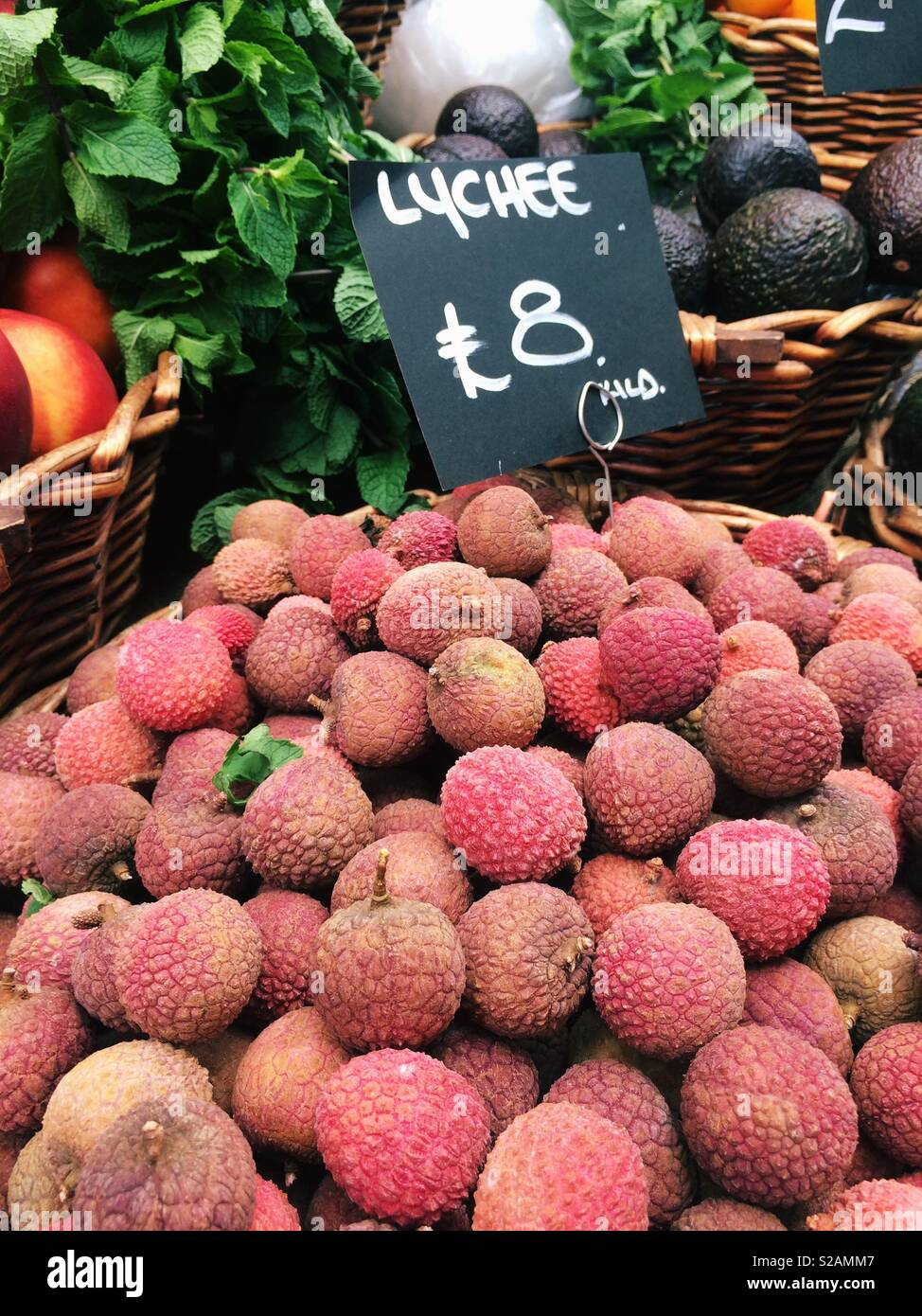 Lychee for sale - Stock Image
