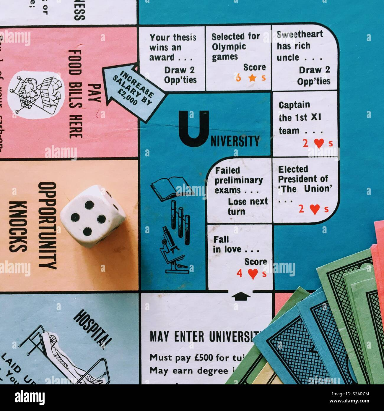 Detail of Game of Careers board game with dice. University option. - Stock Image