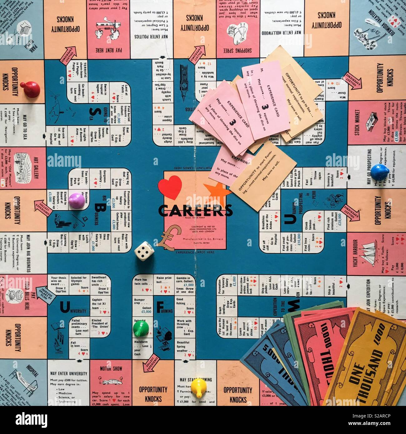 Game of careers board from above - Stock Image