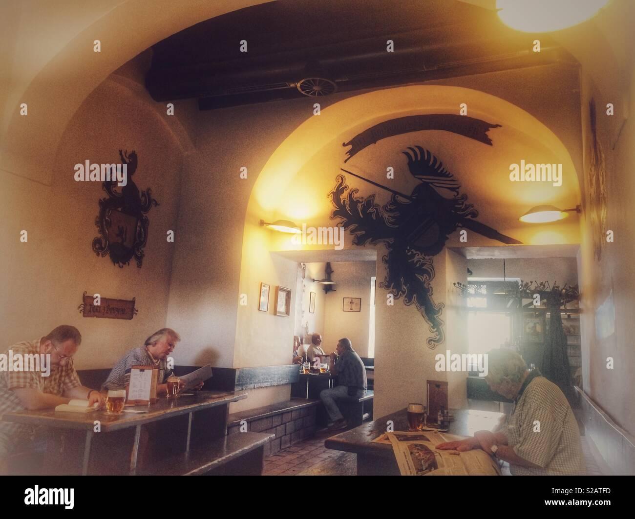 Famous Prague pub U vola interior - Stock Image