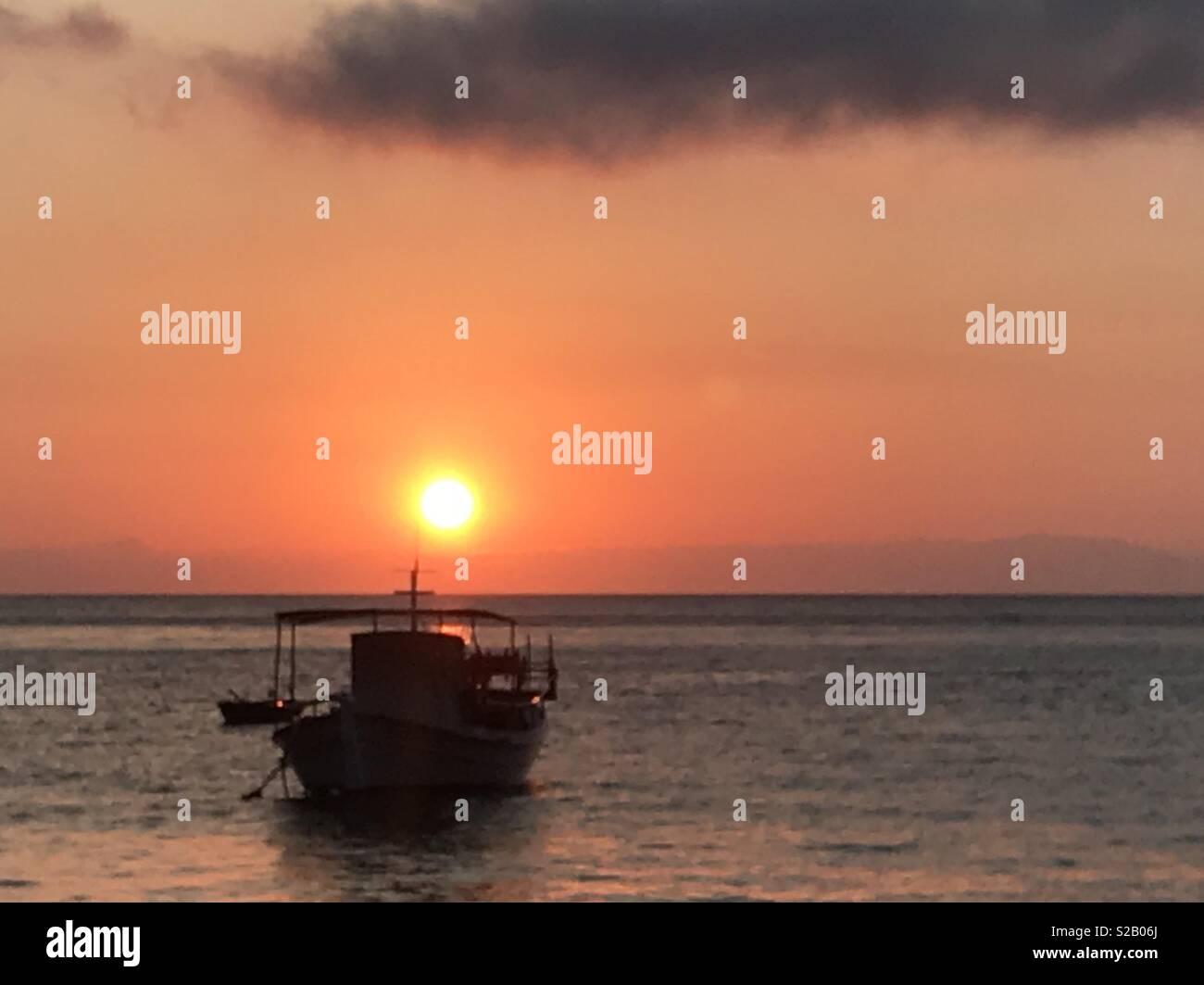 Greek evening sunset - Stock Image
