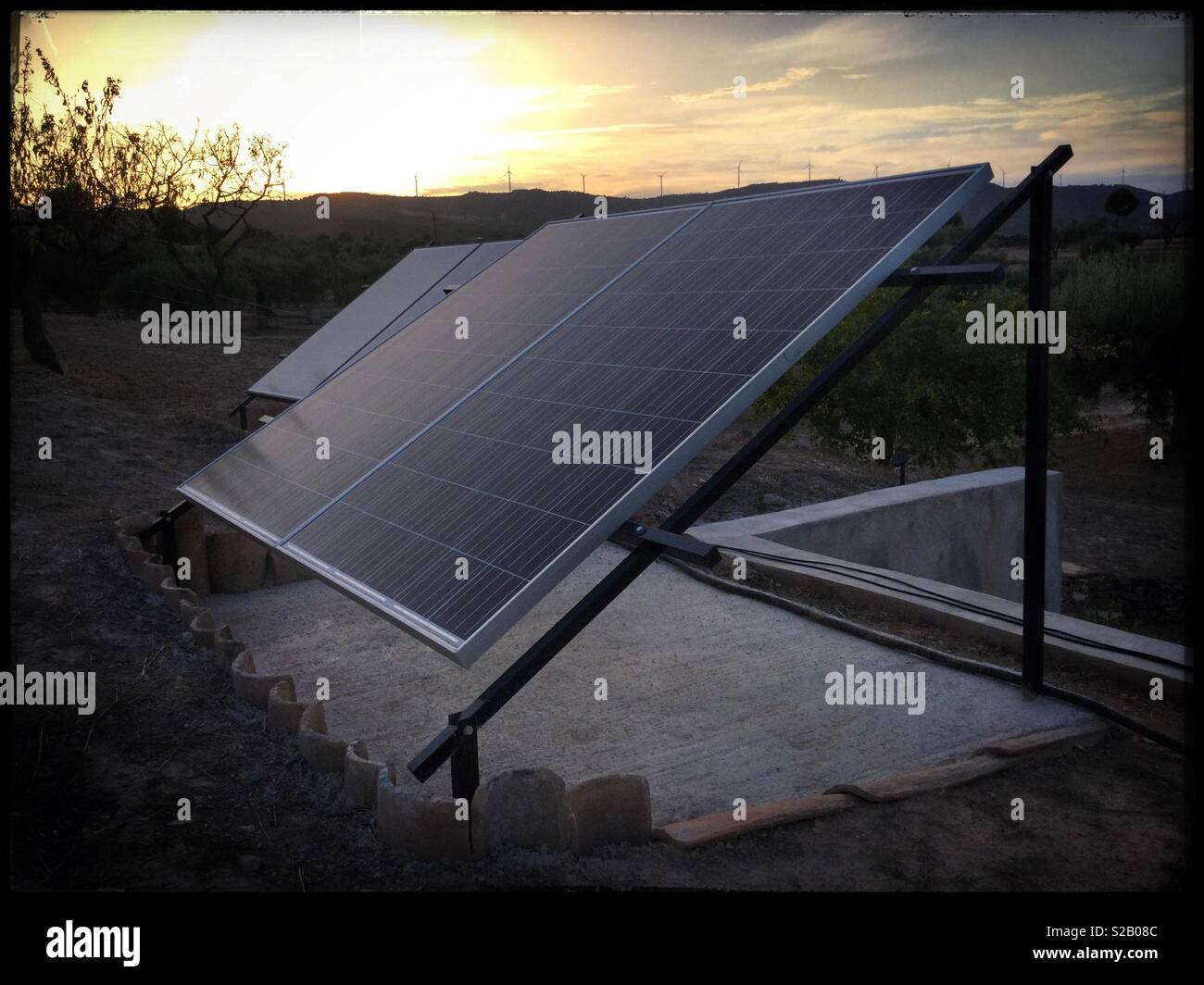Living off-grid with solar energy, Catalonia, Spain. - Stock Image