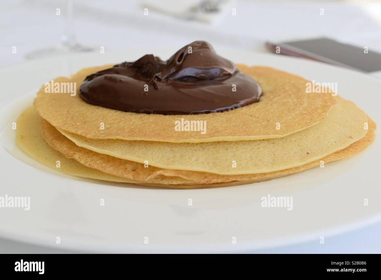 Nutella & Pancakes - Stock Image