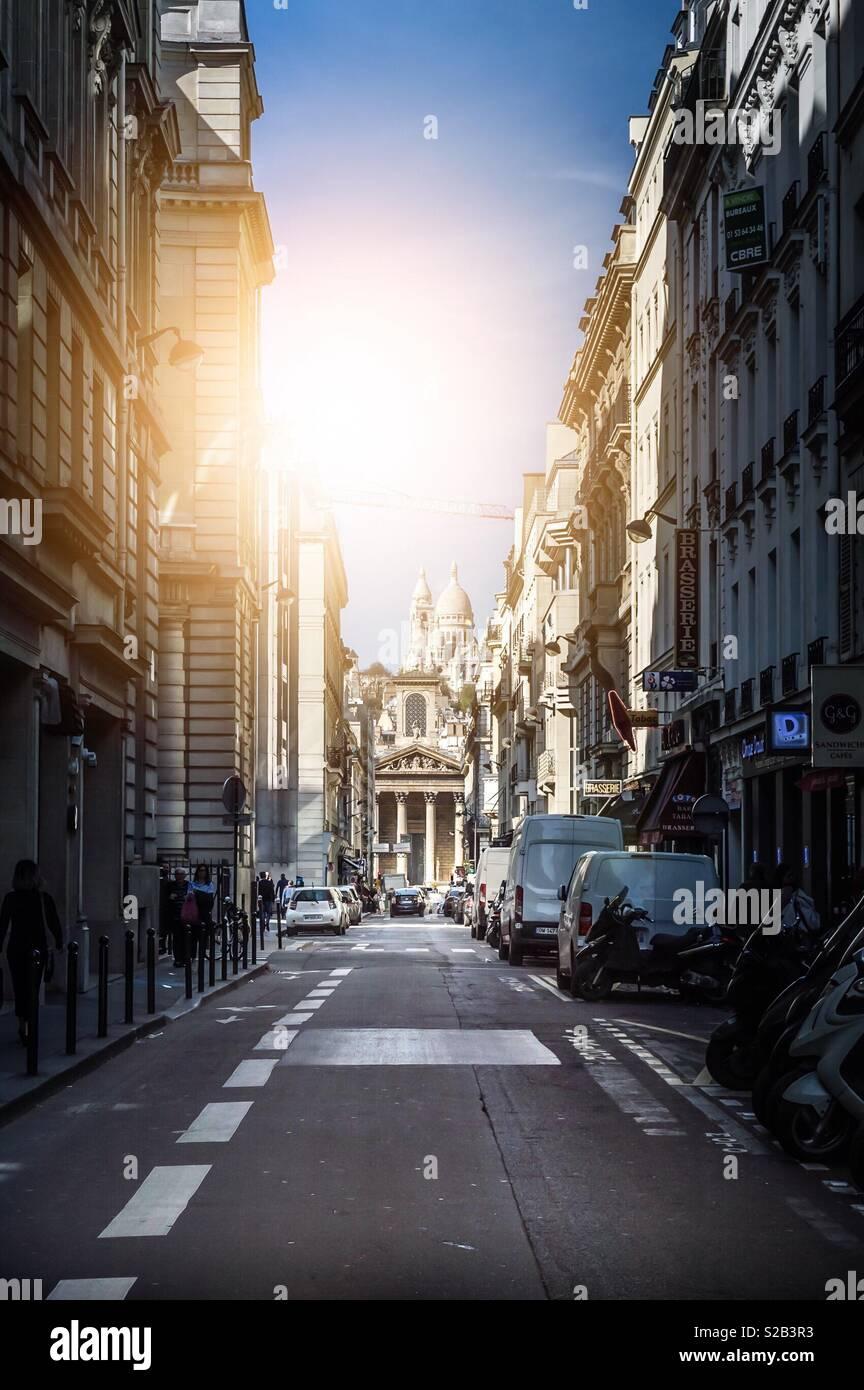 Paris, France - April 17, 2018: Rue Laffitte (Montmartre) during a weekday Stock Photo
