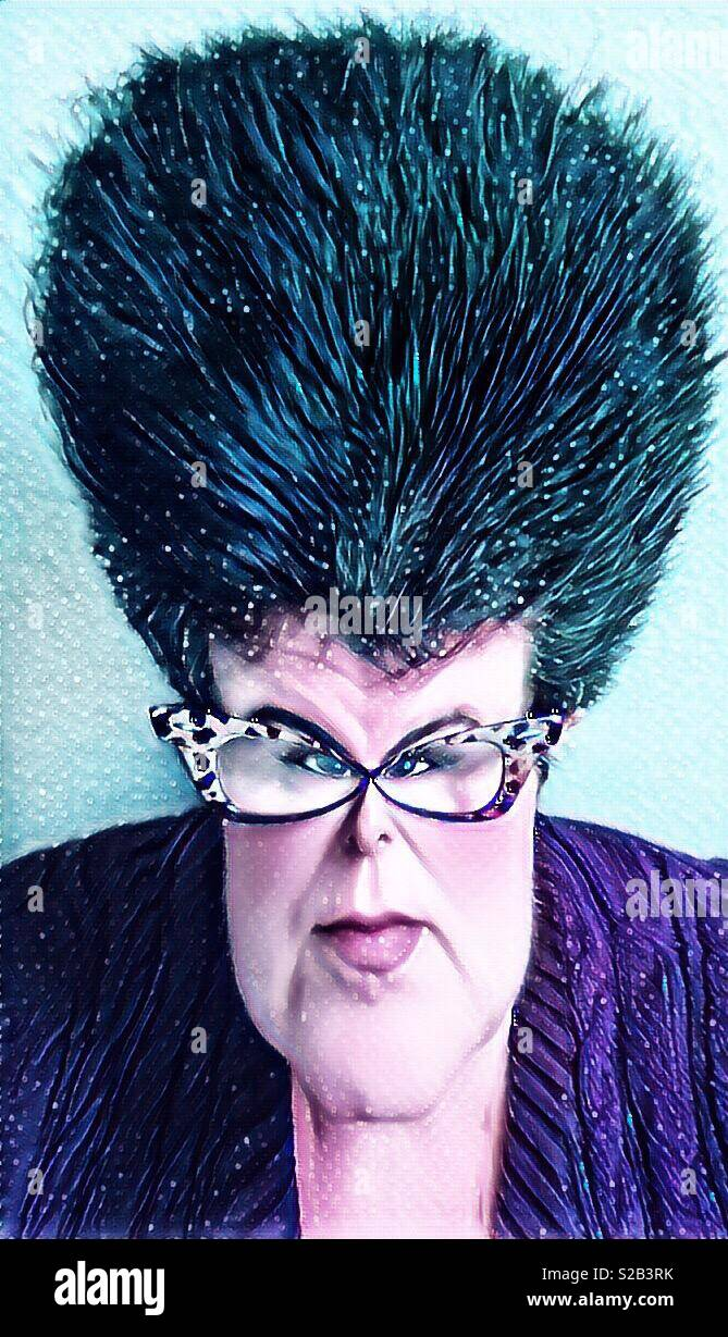 A digital iPhone artwork featuring a caricature of a woman with a huge beehive hairstyle and leopard glasses - Stock Image