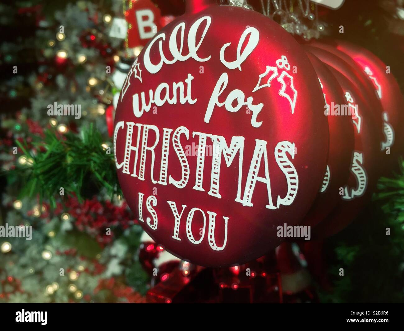 Christmas ornament stating all I want for Christmas is you, USA - Stock Image