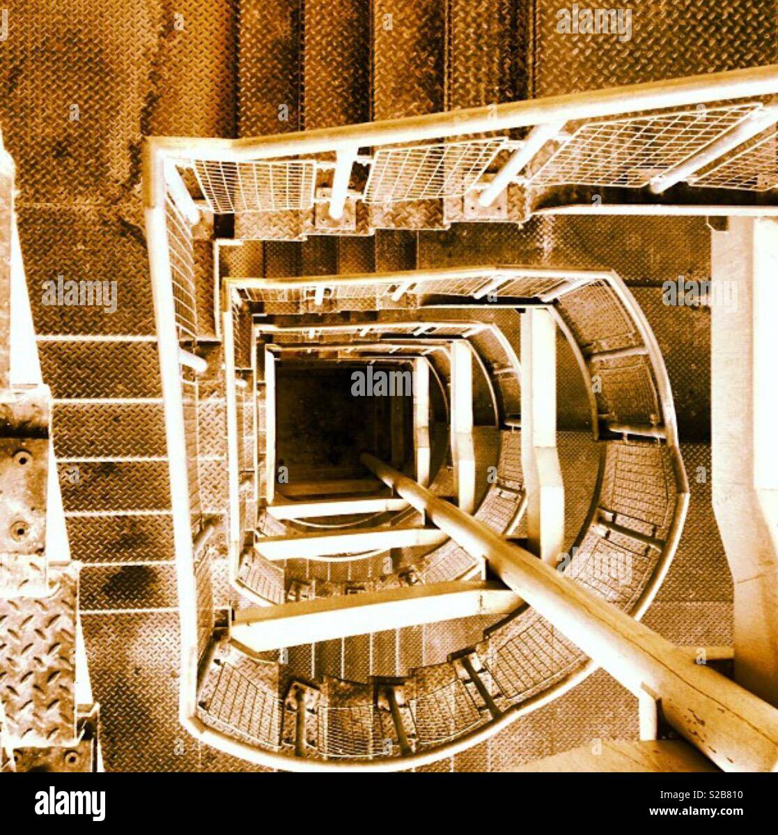 Delightful Industrial Spiral Staircase From Above   Stock Image