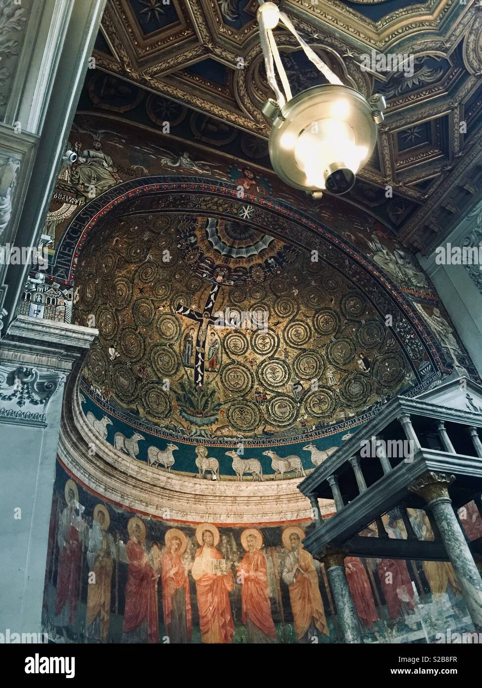 A 12th century mosaic in the apse of the San Clemente al Laterano basilica in Rome, Italy Stock Photo