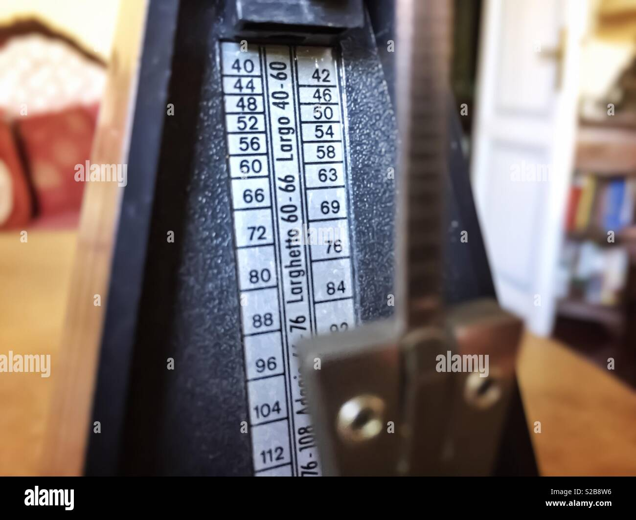 Close up of a musical metronome - Stock Image
