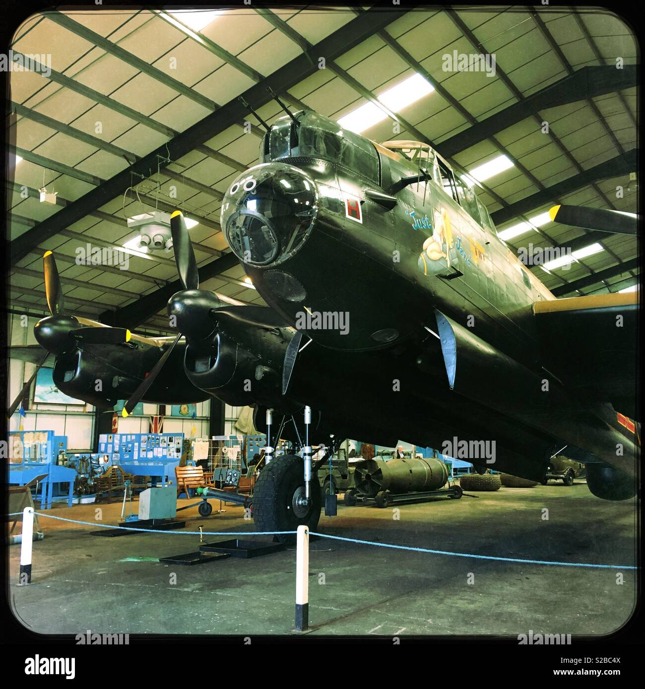 "Avro Lancaster B Mk VII, ""Just Jane"", bomber aircraft. Lincolnshire Aviation Heritage Centre, East Kirkby, UK. - Stock Image"