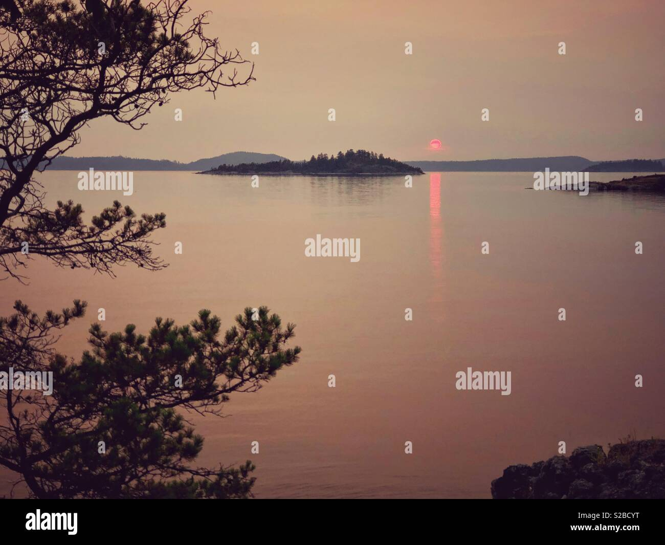 islands of Desolation sound at sunset - Stock Image