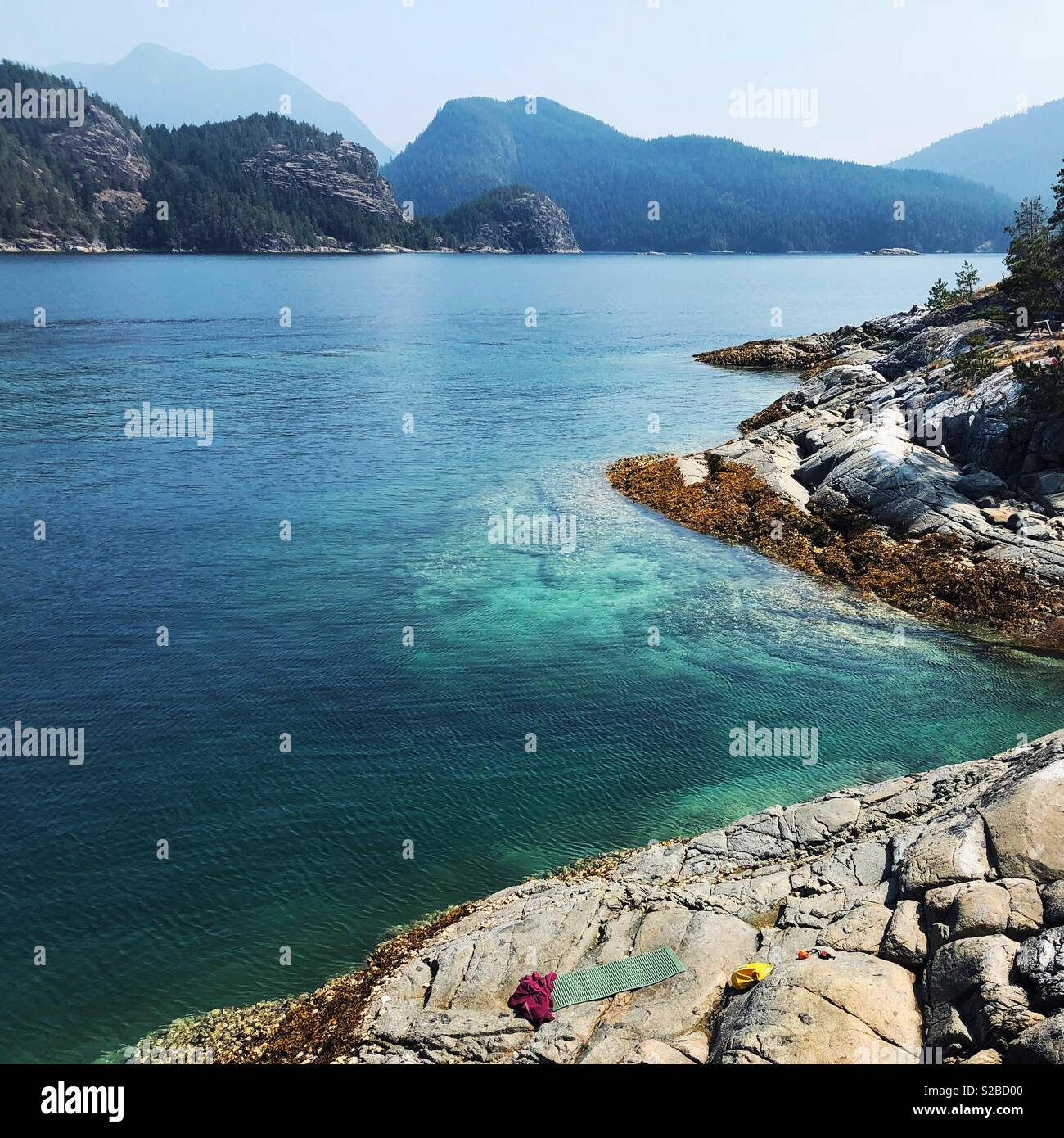 Warm turquoise water of Desolation Sound - Stock Image