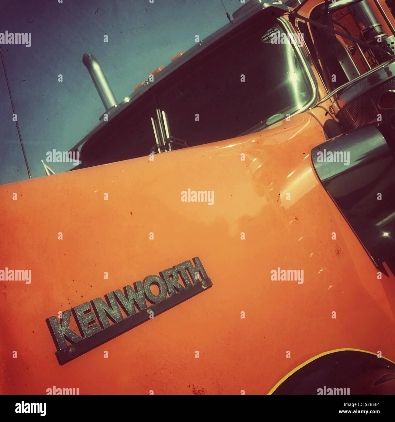 1970s era Kenworth semi truck cab an American design - Stock Image