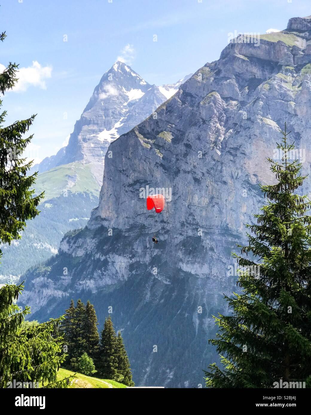 Switzerland paragliding - Stock Image