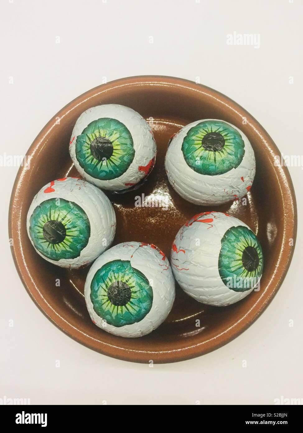 Eyeballs tapas for Halloween - Stock Image