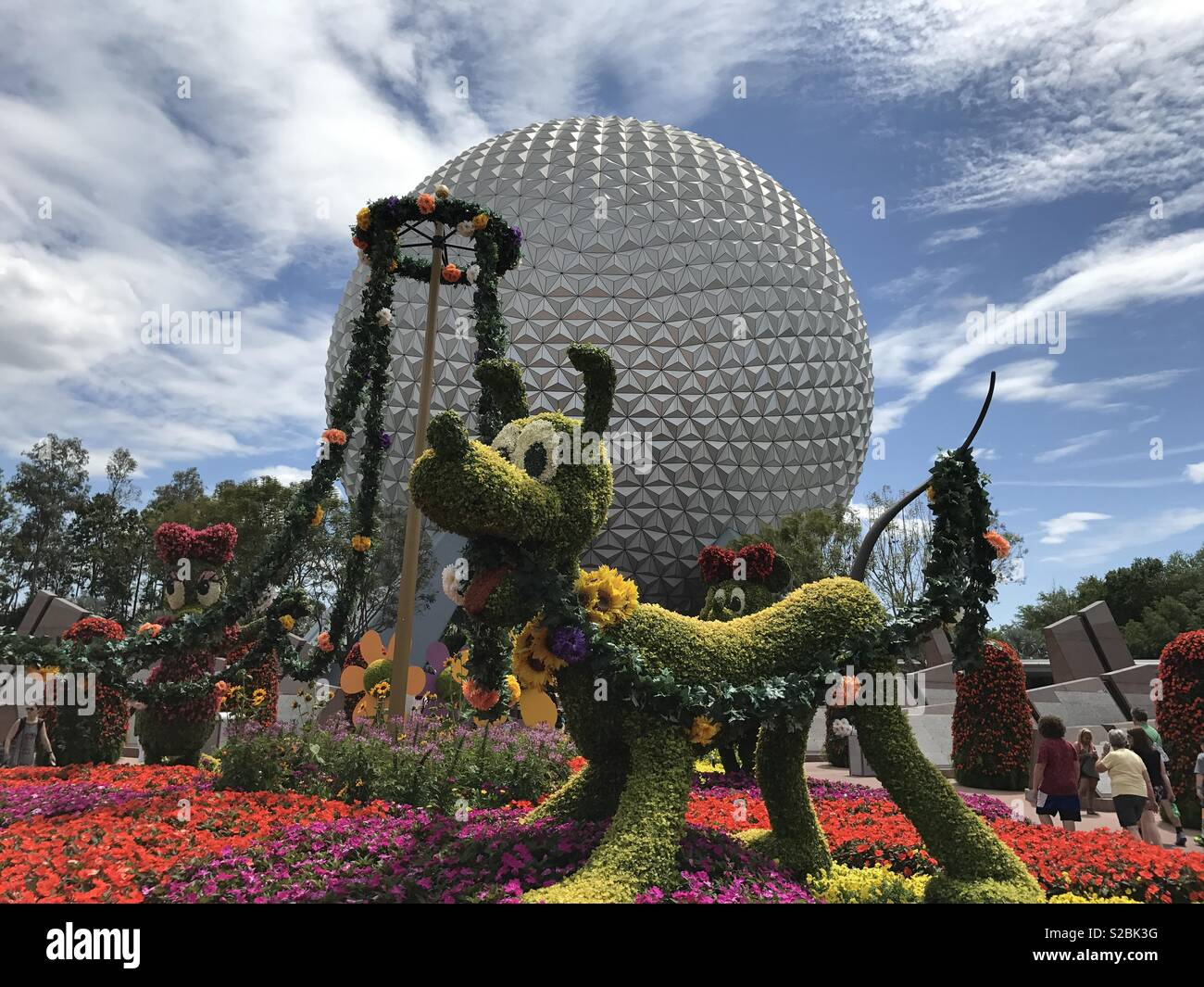 Epcot in the Summer with Pluto Stock Photo