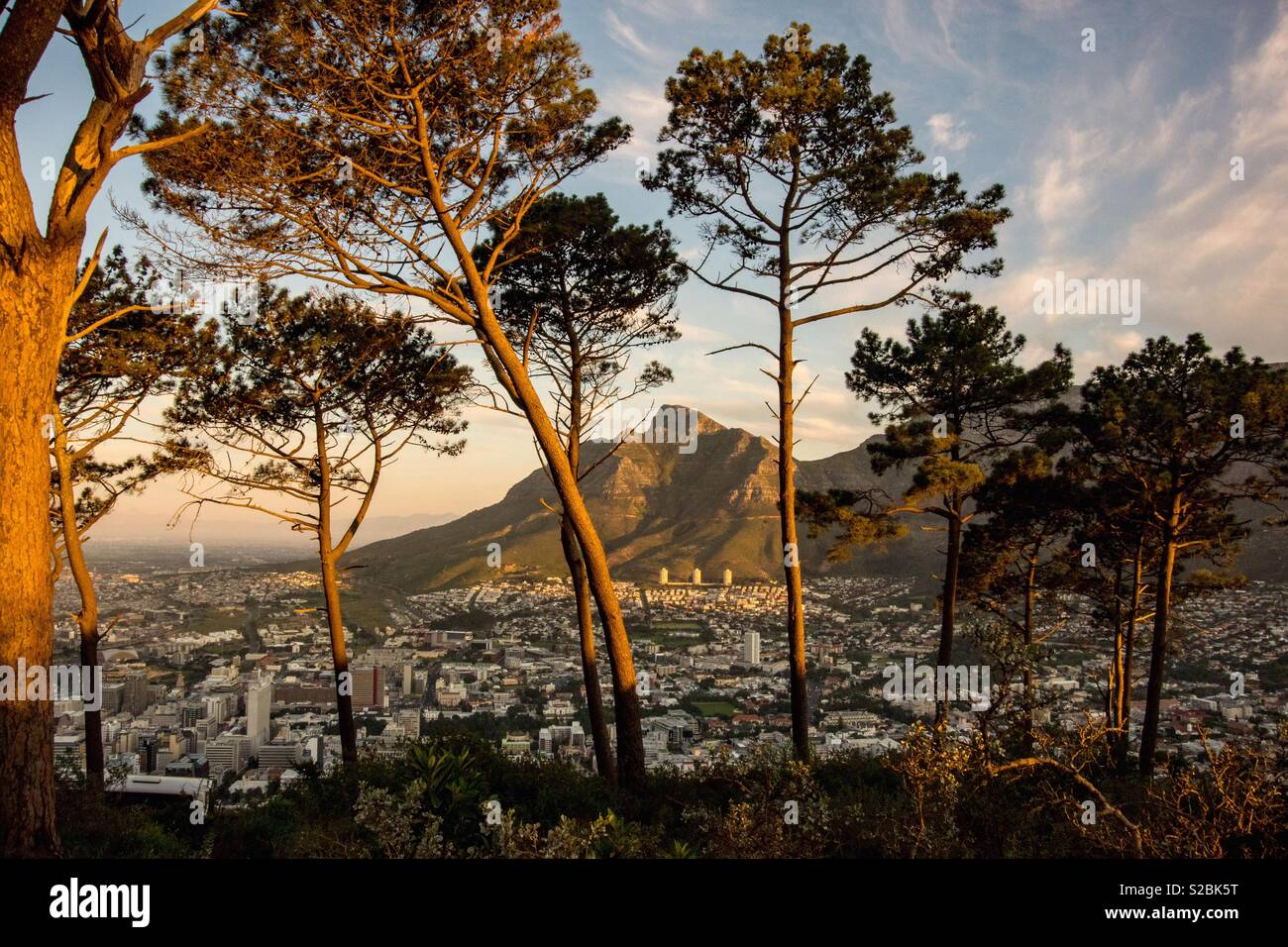 View of Devil's Peak from Signal Hill - Stock Image