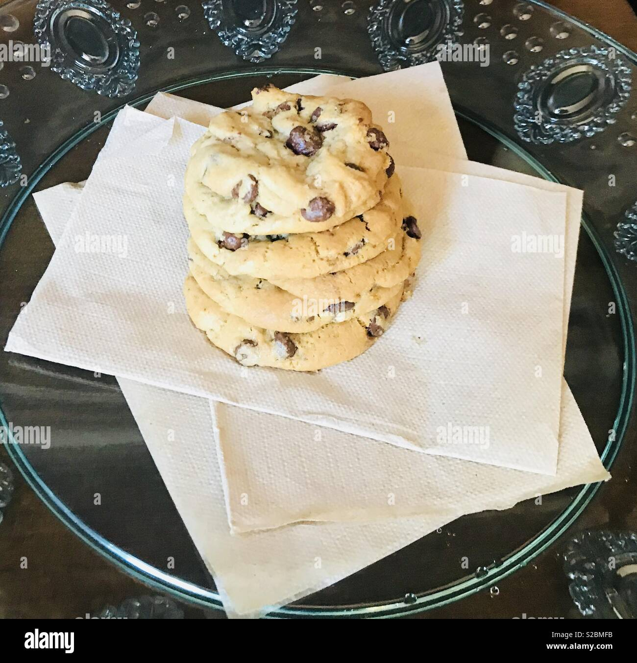 Beautiful And Yummy Delicious Chocolate Chip Cookies Sitting On A