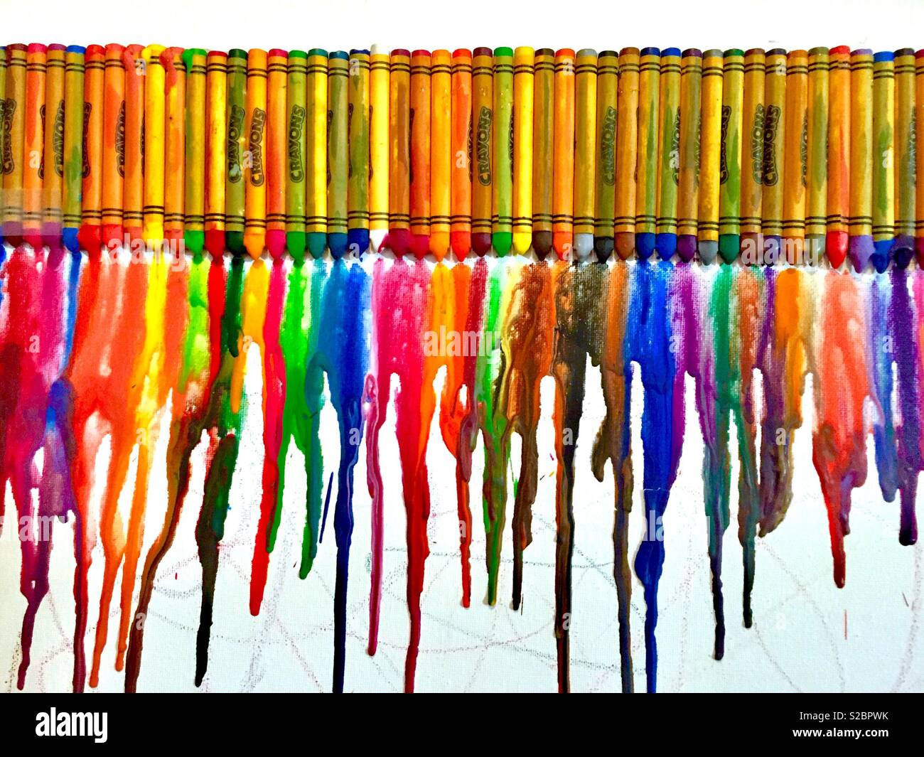 Melted crayon artwork. - Stock Image