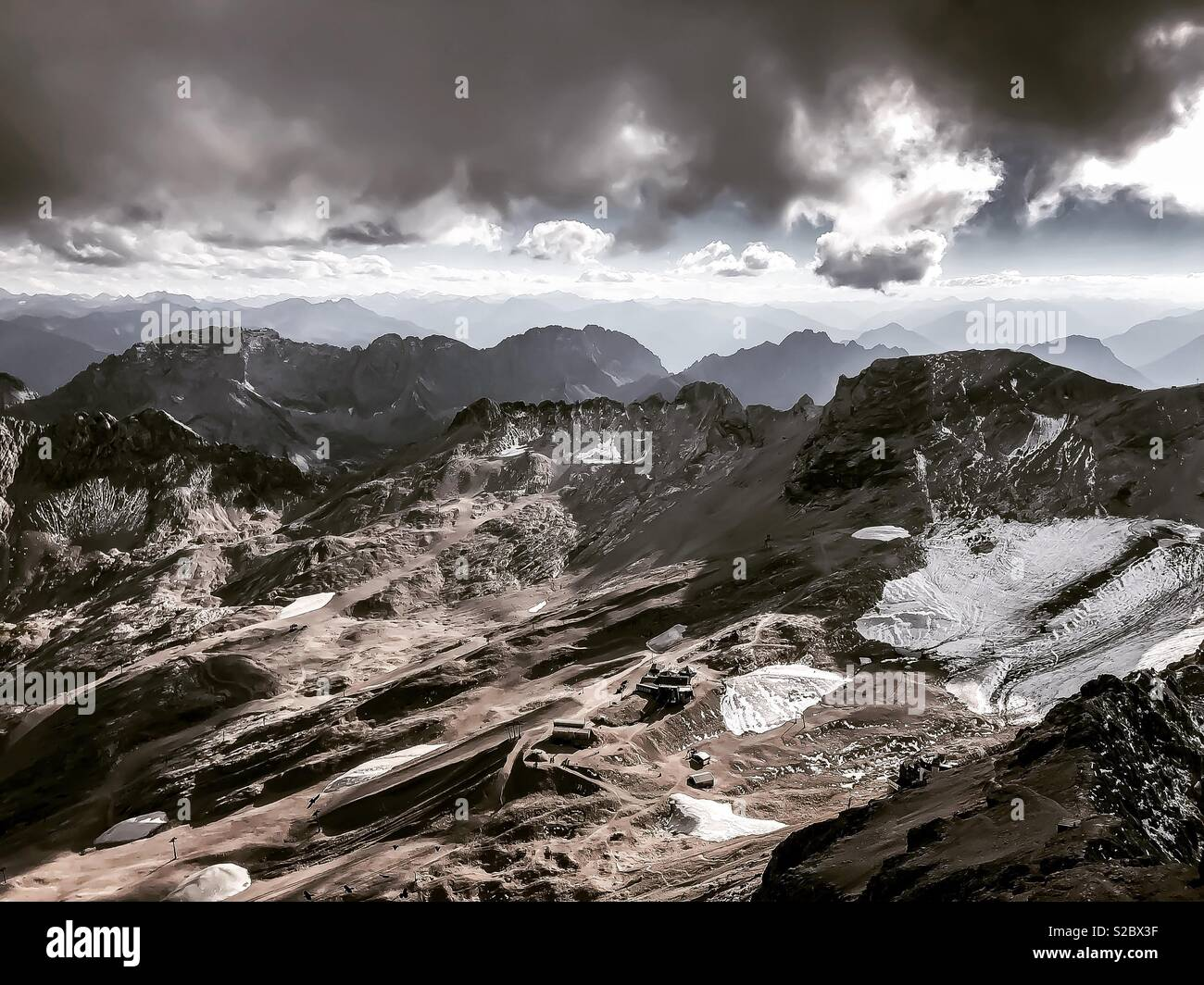 The view from the top of Zugspitze - Stock Image