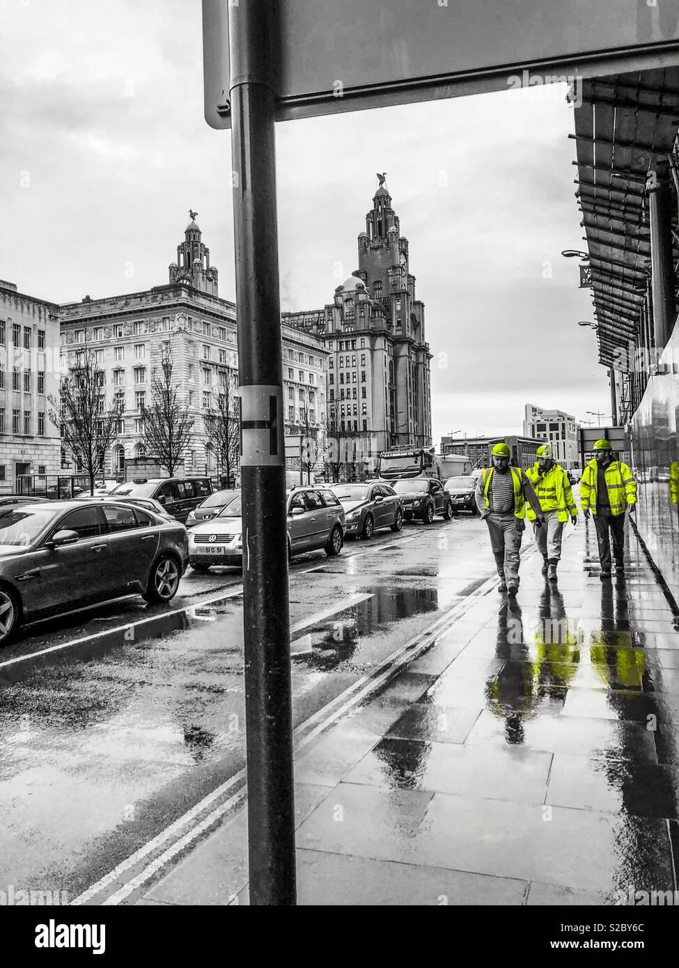 Black and white city colour splash workmen