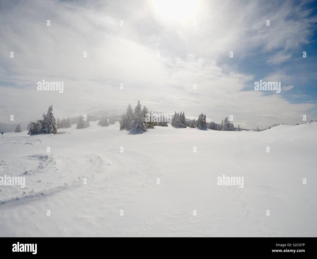 Foggy, panoramic winter landscape with conifer forest and beautiful cloudy sky and sun throw the sky. - Stock Image
