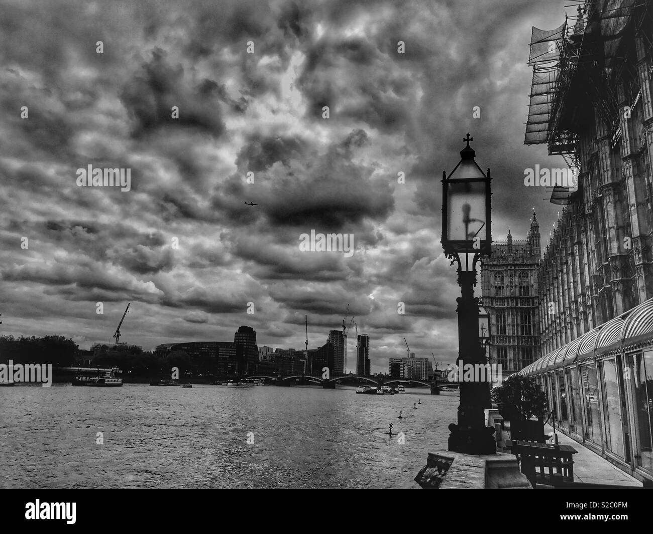 The Thames on a stormy night - Stock Image