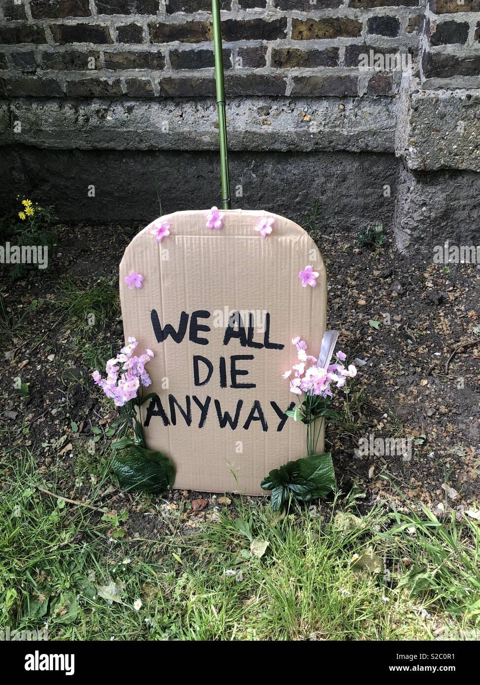 Ironic grave stone - Stock Image