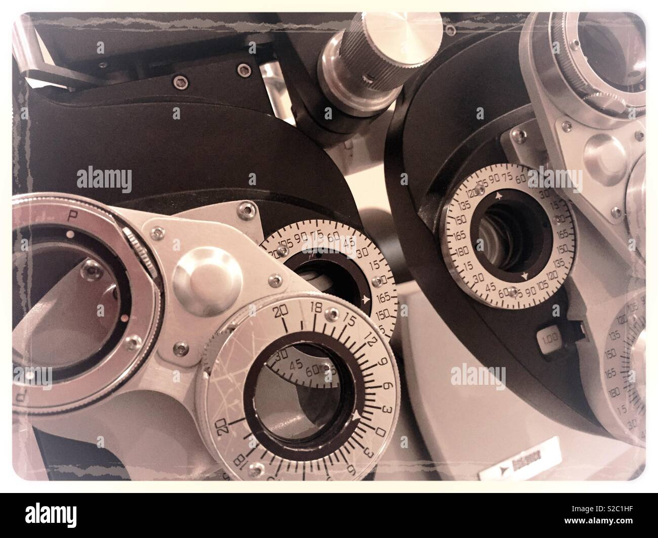 Ophthalmology Office close up of phoropher refraction machine, USA - Stock Image