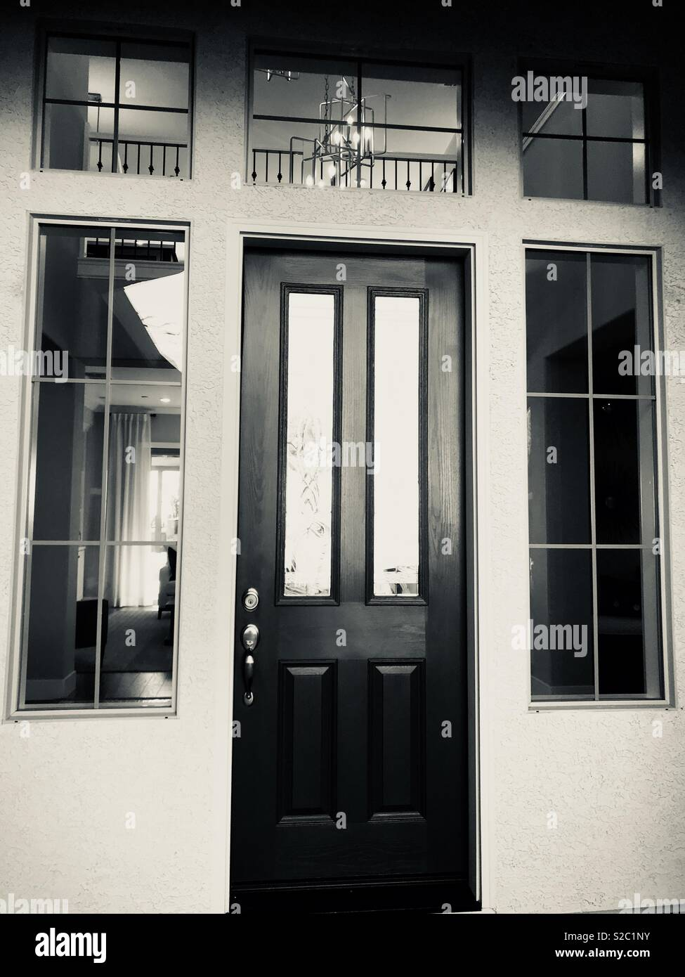 Monochrome picture of a front door Stock Photo