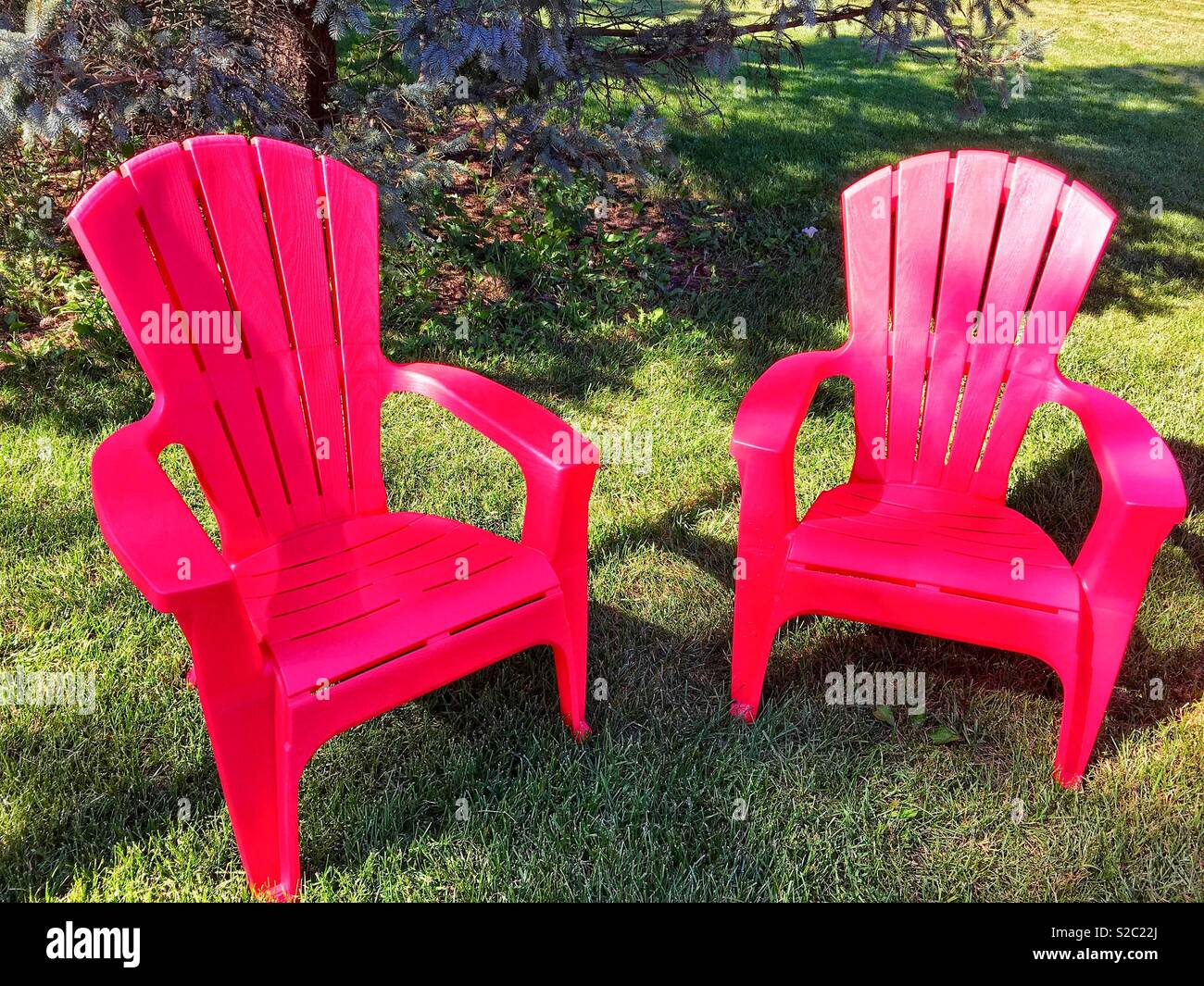 Two Red Plastic Adirondack Chairs On Green Mown Lawn With Green Tree And  Shadows On Sunny Day