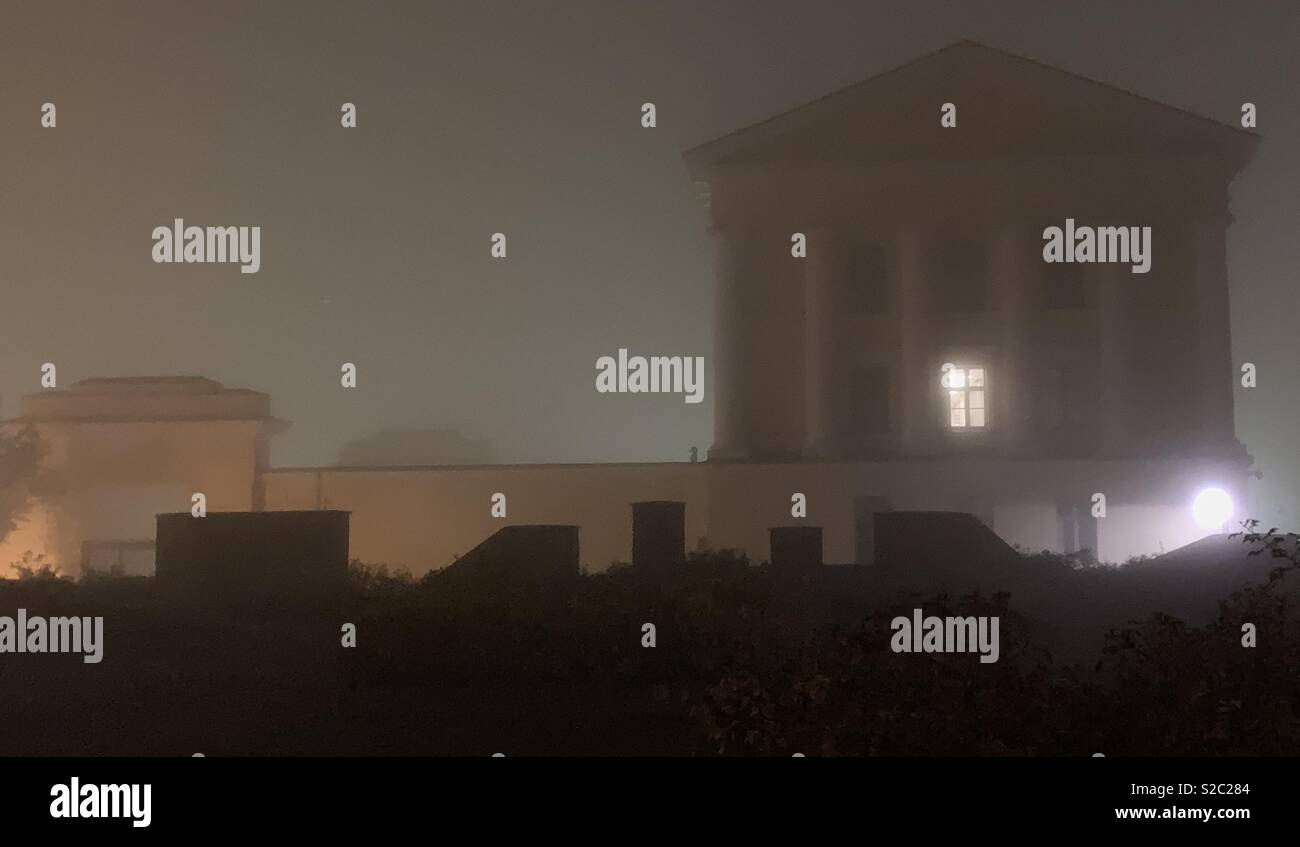 Foggy night view of building in Classical  architecture style - Stock Image