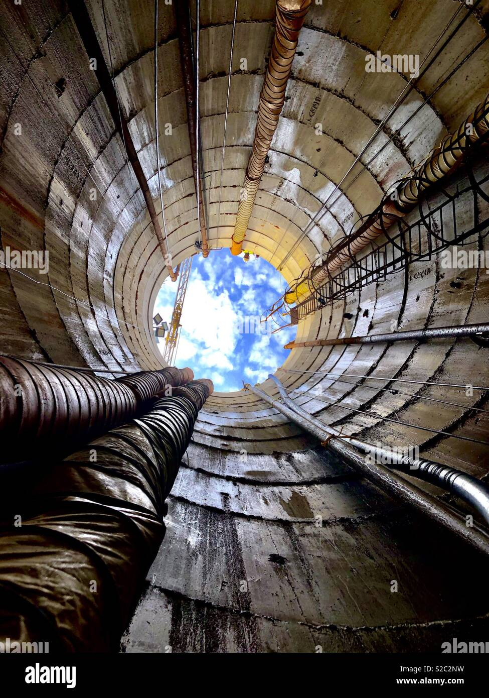 View from a Caisson Shaft - Stock Image