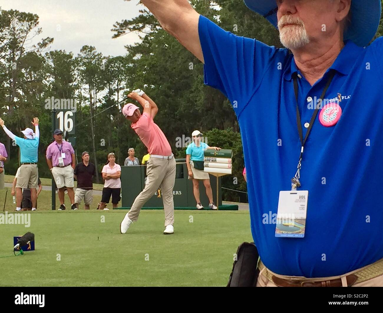 Danny Lee teeing off from the 16th hole at TPC Sawgrass during The Players 2018 Championship Tournament in Ponte Vedra Beach, Florida. (USA) - Stock Image