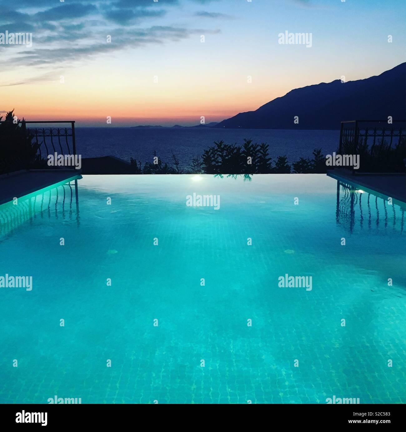 Infinity swimming pool at a Villa in Kas, Turkey Stock Photo ...