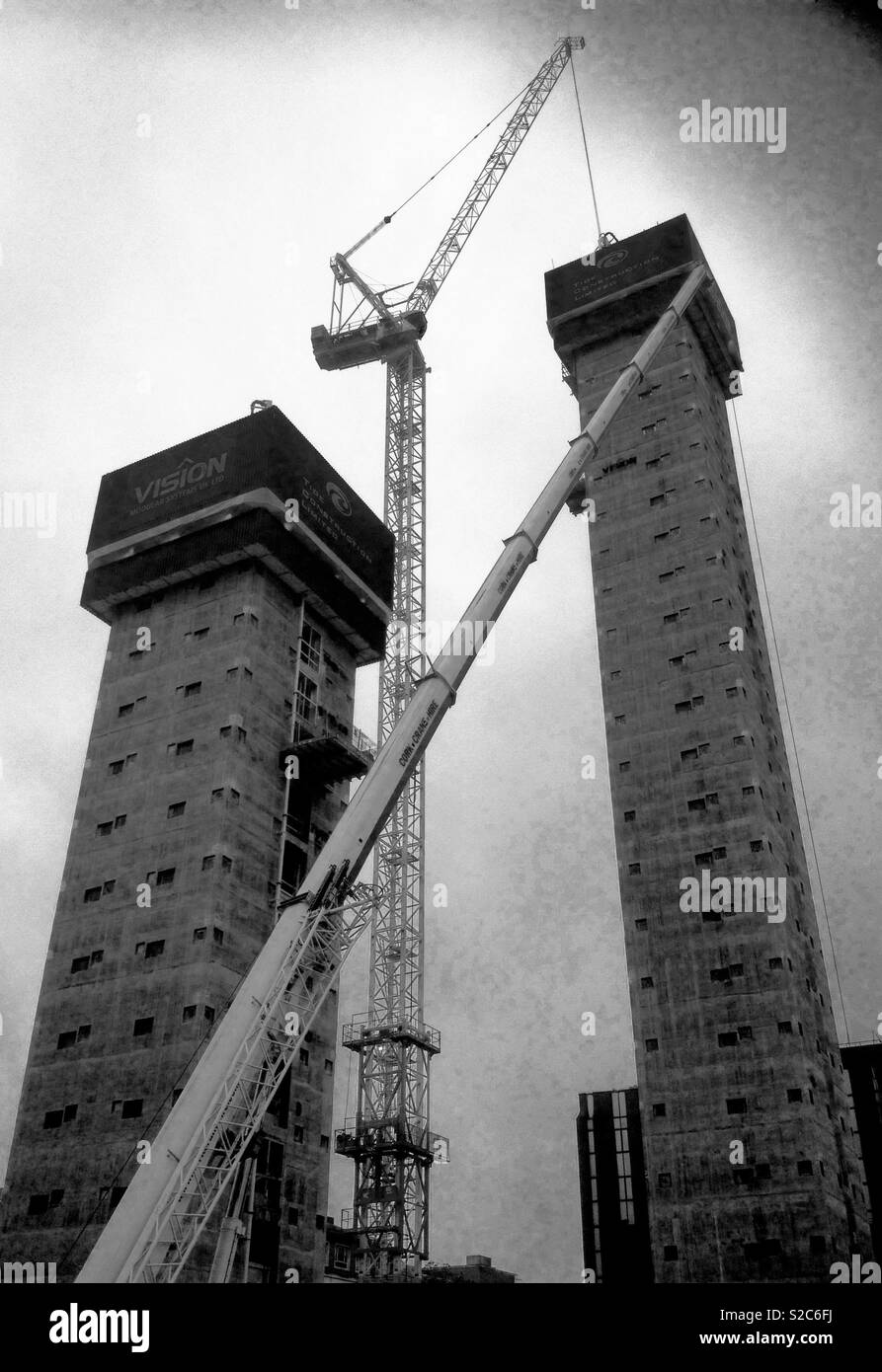 Urban high rise construction site - Stock Image