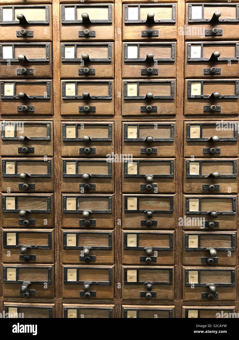 Drawers of library reference cards - Stock Image