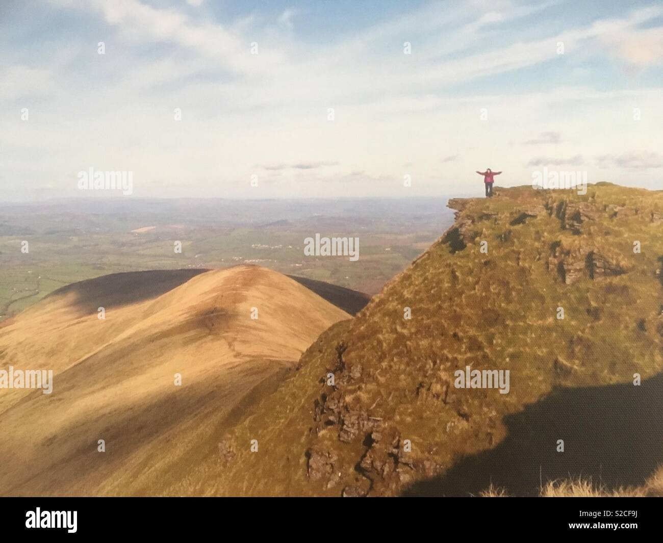 On top of the world, well the Brecon Beacons - Stock Image