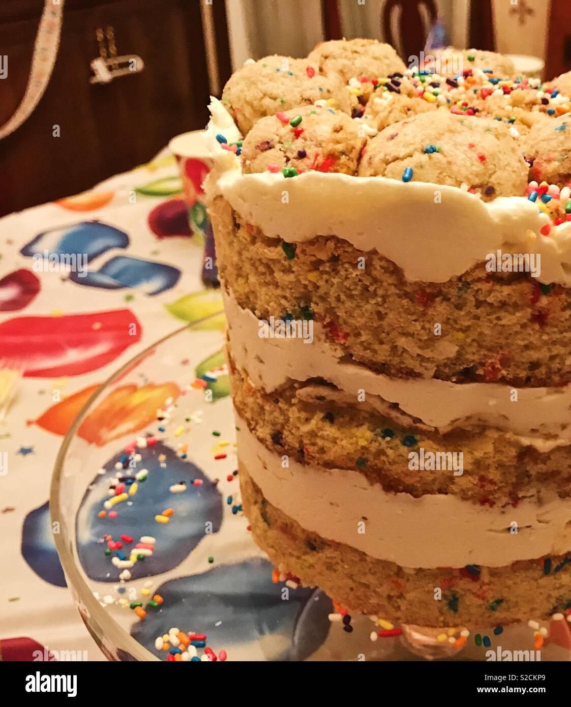 Groovy Beautiful Gourmet Three Layer Birthday Cake On Glass Cake Plate On Funny Birthday Cards Online Benoljebrpdamsfinfo