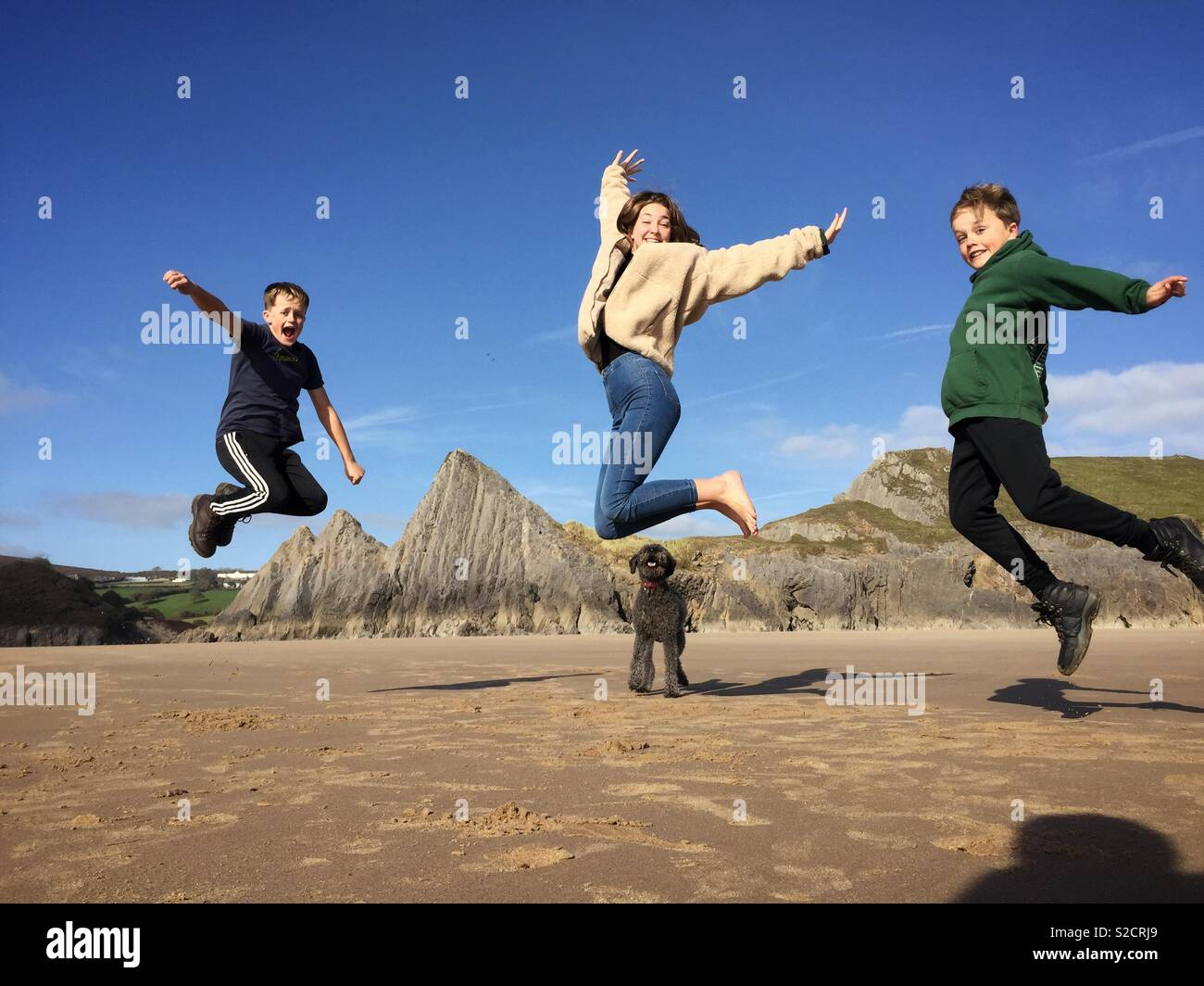 Children jump in the air for a family photo as their dog looks on during a holiday at Three Cliffs Bay on the Gower Peninsular in Wales. - Stock Image