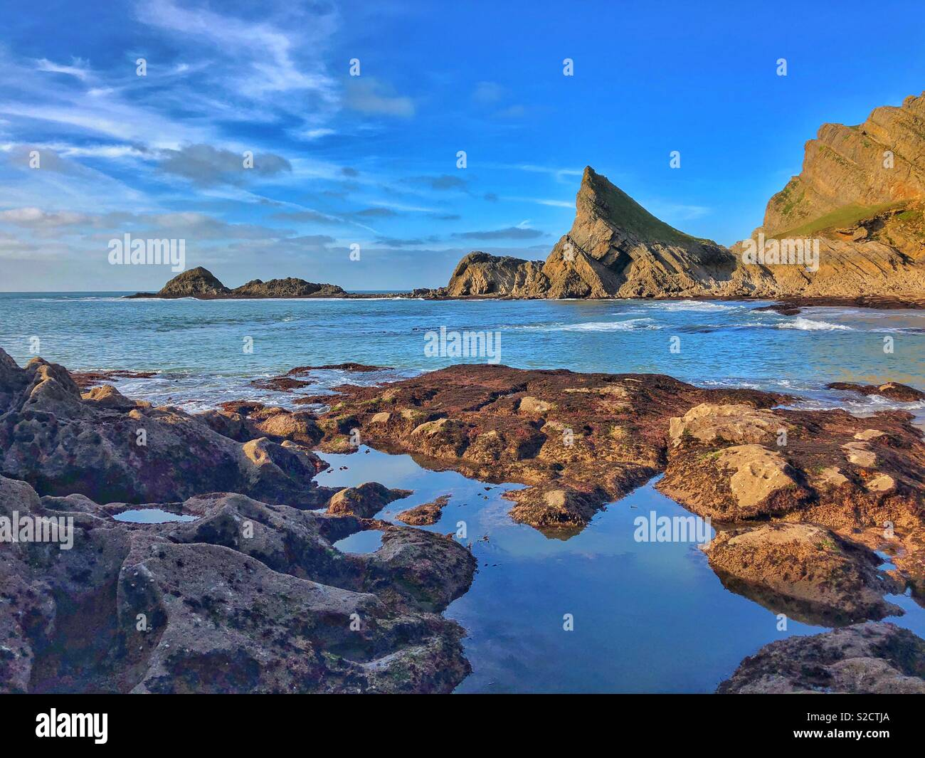 The Knave, South Gower rock feature, Wales, October. - Stock Image