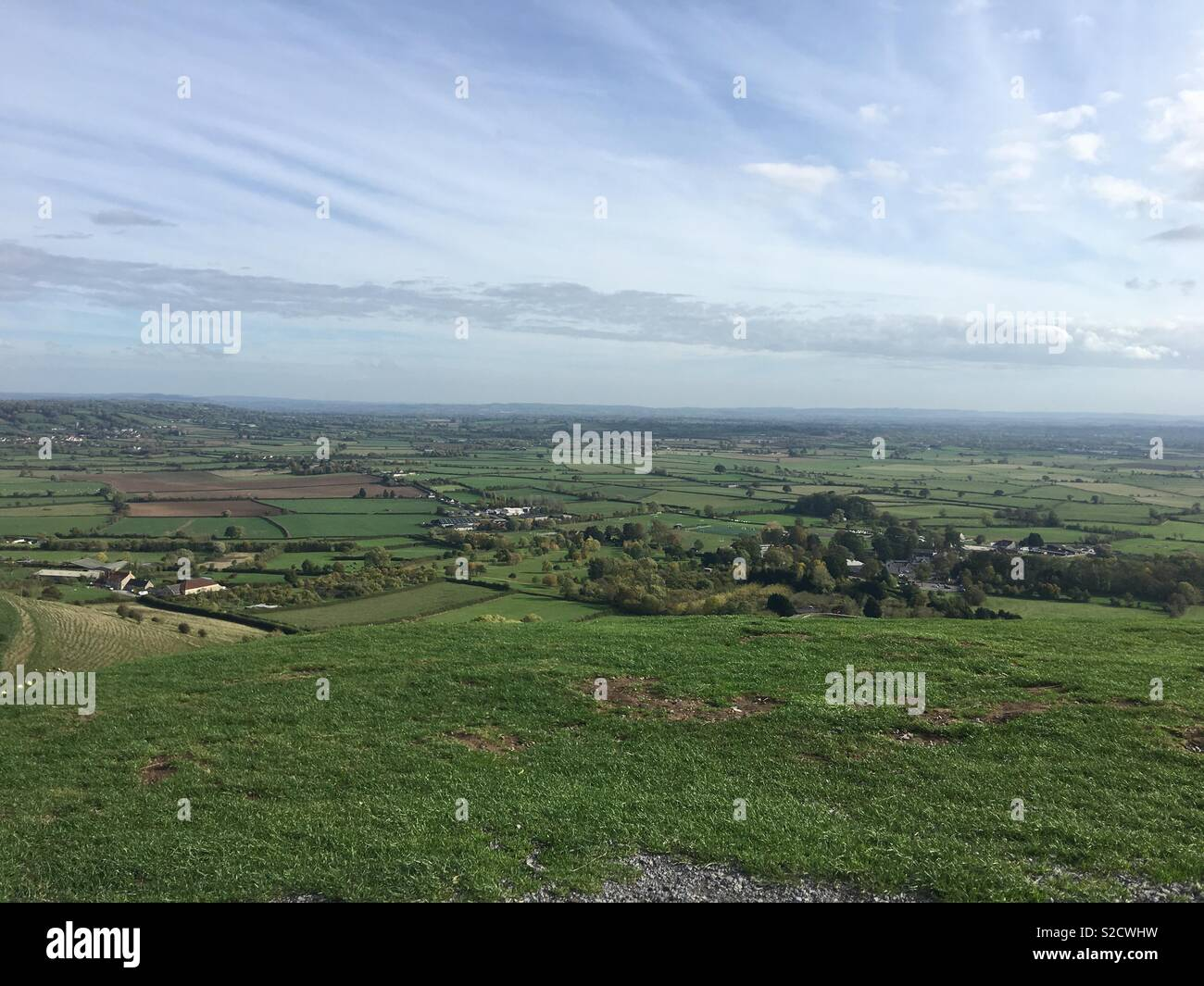 The view from the top of Glastonbury Tor Stock Photo