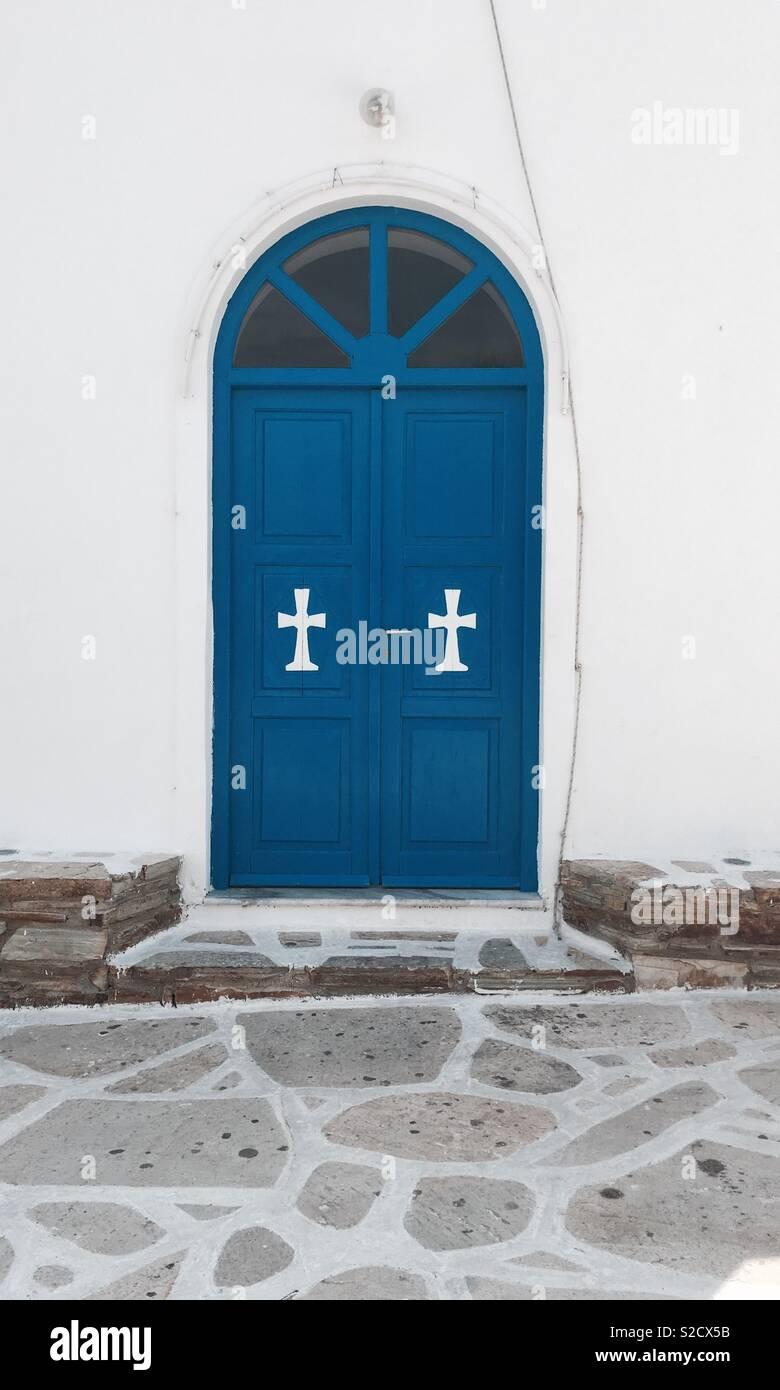 Church door, Greek islands - Stock Image