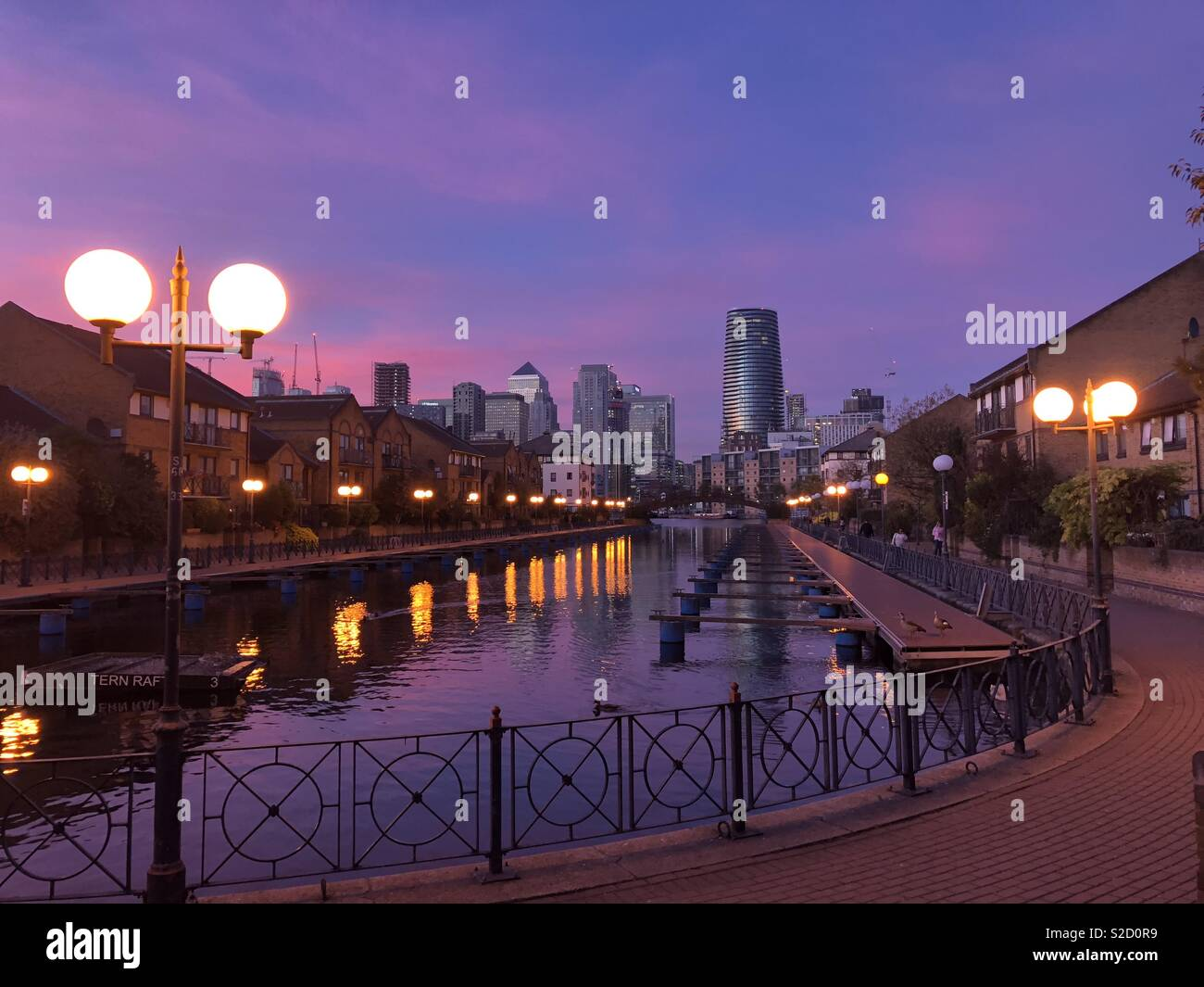 Millwall Outer Dock at Sunset, London Docklands - Stock Image