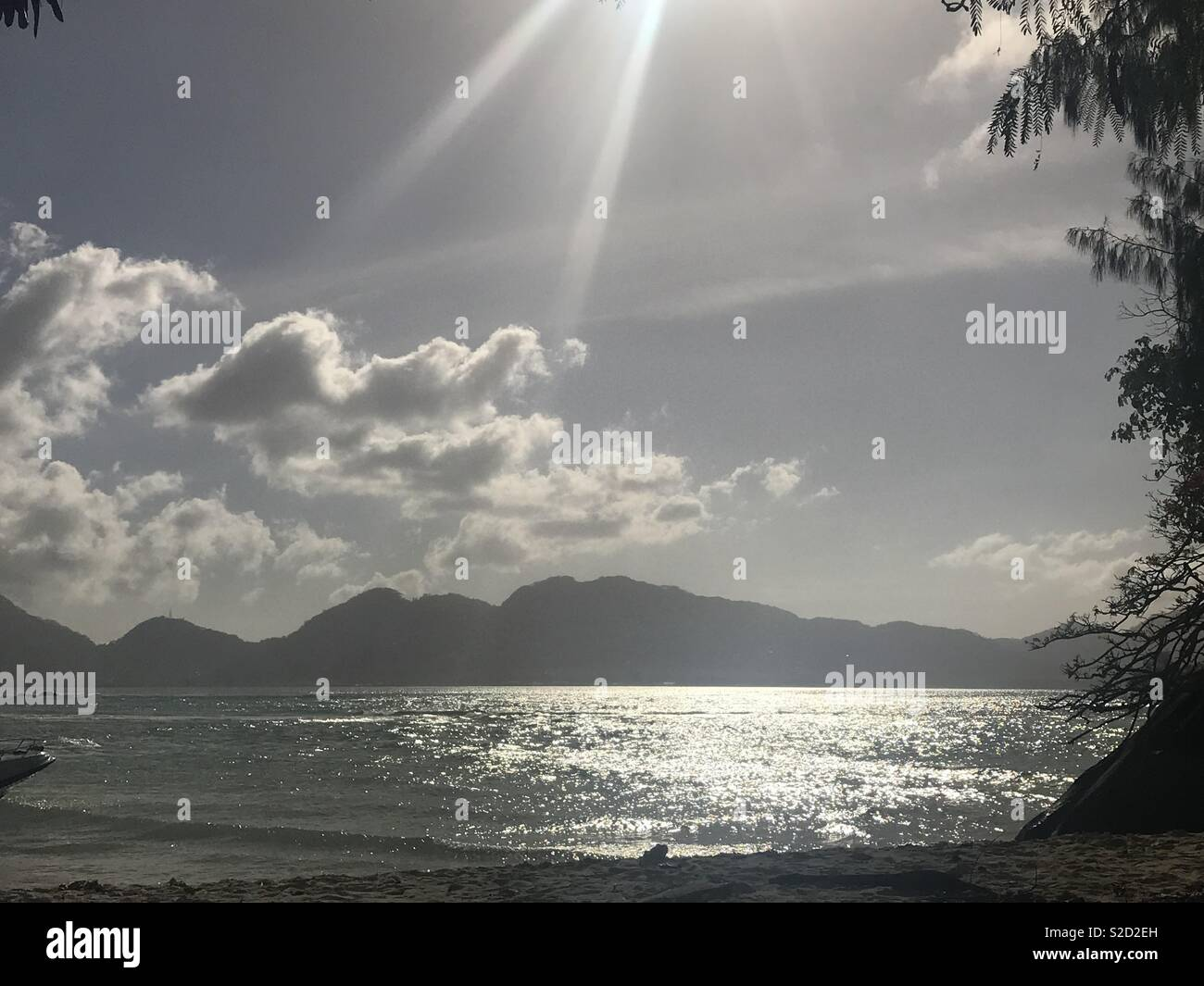 Sun reflection on sea - Stock Image