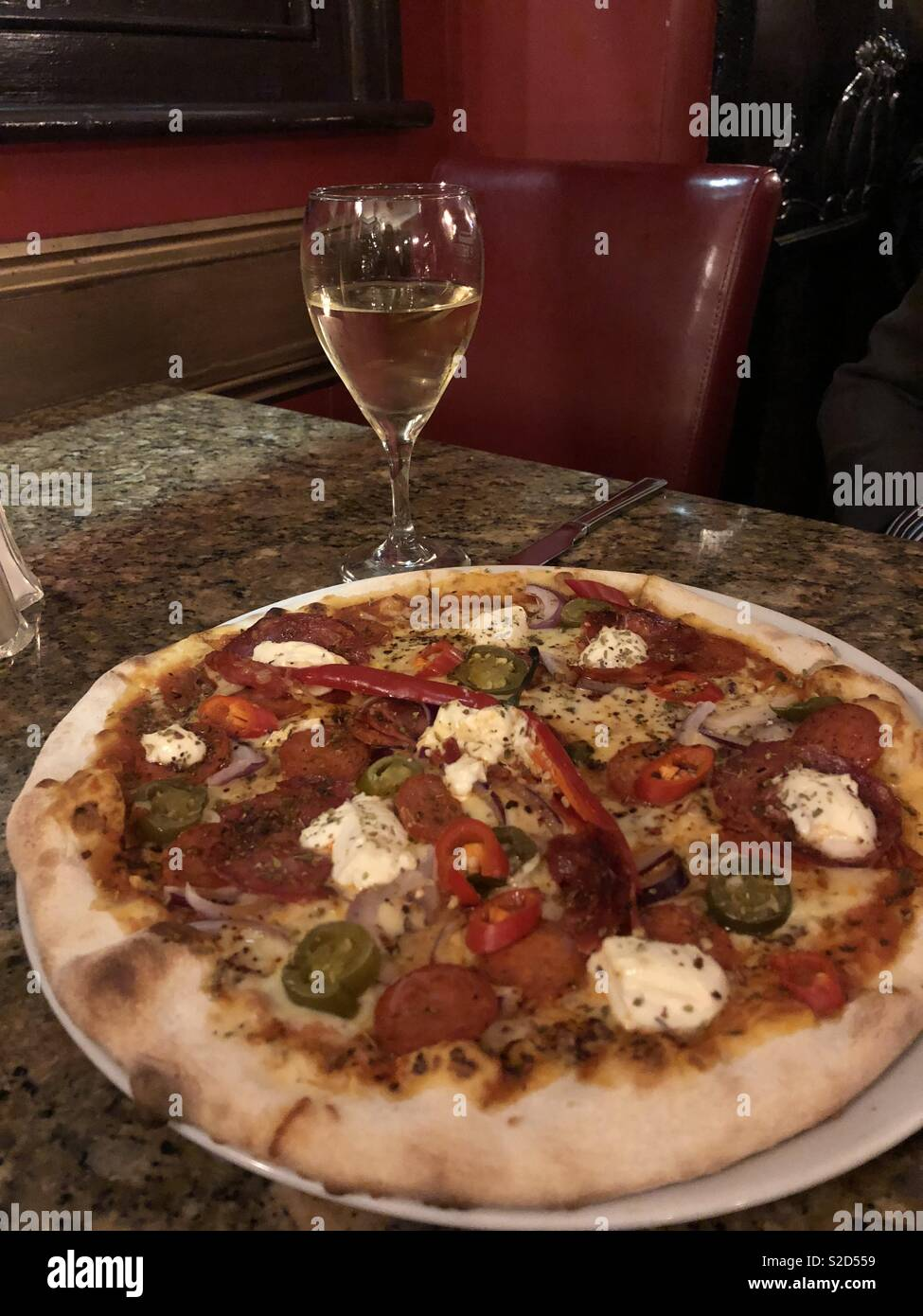 Pizza With Glass Of White Wine Stock Photo 311305381 Alamy