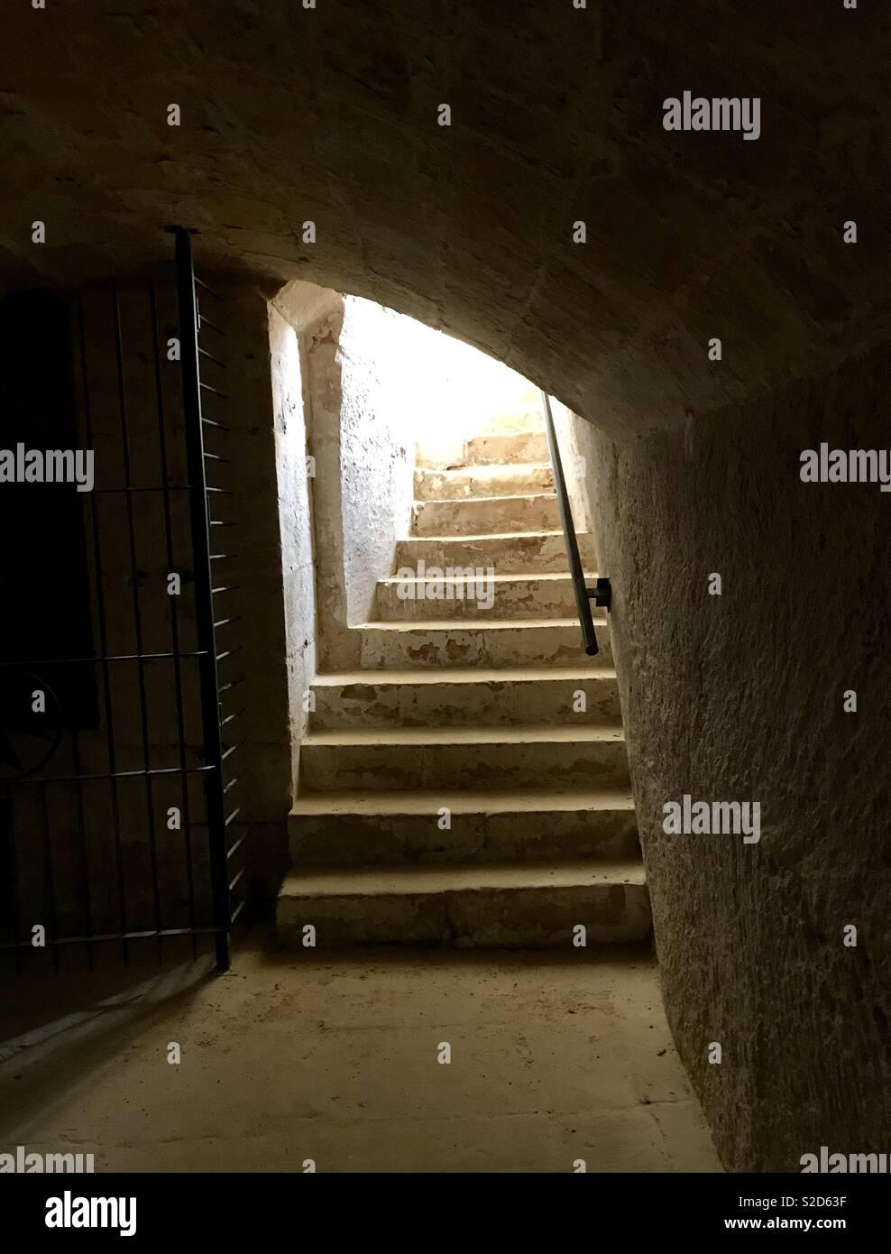 Fort Manoel church Crypt stairways - Stock Image