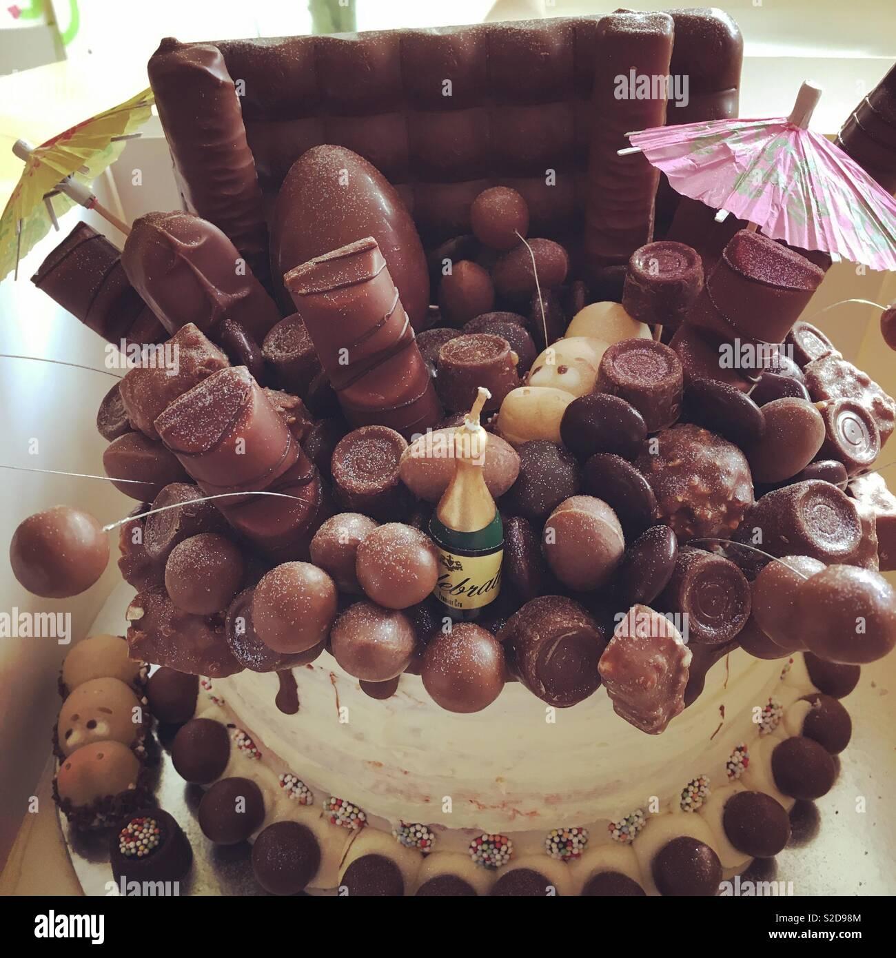 Chocolate birthday cake - Stock Image