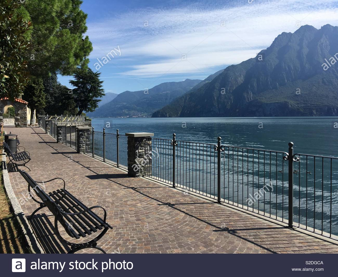 Pavement by lake Iseo - Stock Image